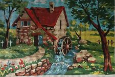 ROYAL PARIS Country Scene Mill Stream NEEDLEPOINT Canvas only