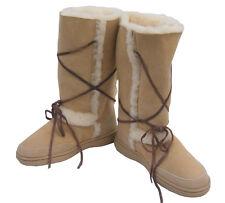 Sundance Tall Ugg Boots Natural Beige Aus Sheepskin Rubber Sole Wool Boot New