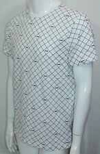 Michael Kors MK Logo-Grid T-Shirt White & Black Large NWT Crew Neck