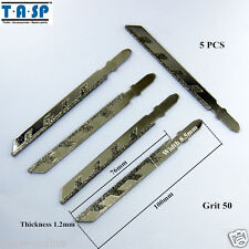 5 Pieces 100mm Diamond Jig Saw Blades for Granite Cutting with T-shank Grit 50