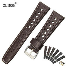 20mm 22mm New White stitch Black or Brown Genuine Leather Holes Watch Band Strap