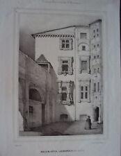 LITHOGRAPHIE DE PERRIN 19 EME TOULOUSE ANCIEN HOTEL LASBORDES RUE VIEUX RAISIN