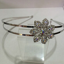 Silver alloy two row headband with diamante & Ab crystal side  flower HBF