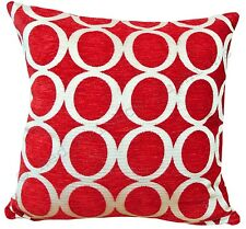 "Red & Cream 18"" Luxury Soft Chenille Cushion Cover Oh BNWT"