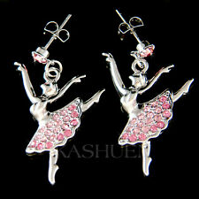 w Swarovski Crystal ~Pink BALLERINA~ Ballet Dancer Dance The Nutcracker Earrings