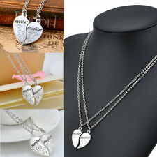 2PC/Set Family Gift Mother Daughter Flower Silver Plated Chain Pendant Necklace