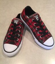 "NEW~CONVERSE ""All Star CT"" Junior Unisex Casino/Black Plaid Sneakers~Size 1"