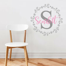 Personalise Initial Baby Nursery Room Little Girl Mural Sticker Decal Decor