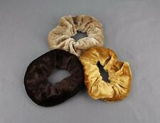 Dk Brown Camel Tan pack 3 velvet velour fabric stretch ponytail holders scrunchy