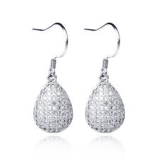 Micro Crystal CZ Paved Angel Tears Water Drop Dangle Hook Earrings 925 Silver