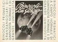 W2792 Binocoli Prismatici SAN GIORGIO - Pubblicità del 1939 - Old advertising