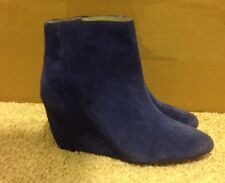 Vince Camuto Melisi Dark Blue Suede Wedge Ankle Boots Bootie 6
