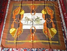"""AUTHENTIC, CLASSIC AND PRETTY HERMES """" CARRICK A POMPE """" LARGE SILK SCARF"""