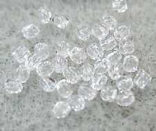 Czech Fire Polish Glass 2TINY® Clear Crystal 2mm Round 100 Beads Spacer Tassels