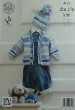 KNITTING PATTERN Baby V-Neck Cardigan with Textured body&Bobble Hat DK KC 4196