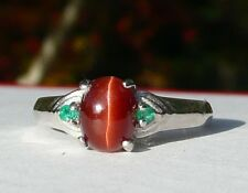 NEW Silver RING 7.3x5.3mm CATS EYE SCAPOLITE with 2 Vivid Green EMERALD Accents