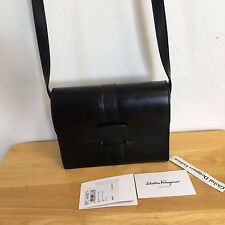 New Authentic Salvatore Ferragamo Calfskin Leather Black Mini Flap Crossbody Bag