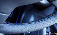 FOR VAUXHALL TIGRA B 04-09 BLACK PERFORATED LEATHER STEERING WHEEL COVER BLUE ST