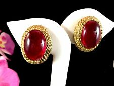 1960'S COUTURE KENNETH J. LANE KJL GOLDTOPE ROPE RUBY RED CABOCHON CLIP EARRINGS