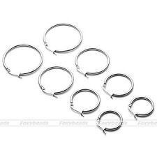 Women Ladies Stainless Steel Tube Dangle Ring Big Hoop Ear Circle Round Earrings