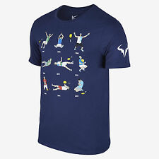 Nike Rafael Nadal LIMITED EDITION French Open RAFA Court Emoji Tennis Shirt Navy
