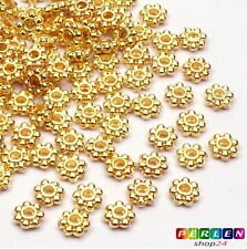 50x métal perles spacer fleur 4mm or