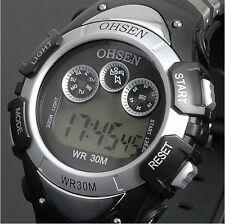 OHSEN Sport Digital AL LCD Time School Watch For Child Boy Girl Wrist Watch Gray