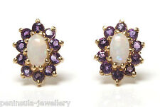 9ct Gold Opal and Amethyst Stud Earrings Gift boxed Made in UK