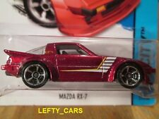 HOTWHEELS FLAKE BURGUNDY MAZDA RX-7 CHROME RIMS - SCALE 1:64 - ON LONG CARD