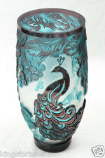 Cameo Vase Concord Peacock Cranberry Green Crystal (CC10046) Chris Carpenter