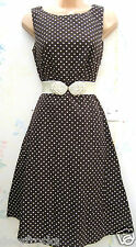 SIZE 20 50'S PRETTY WOMAN STYLE POLKA DOT COTTON BROWN DRESS - US 16  EU 48