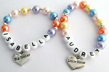 Flower Girl Little Girls Big Sister Lil Sister Name Personalized Pearl Bracelet