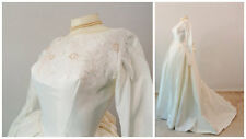 Vintage Wedding Dress Ivory Janet Bridal Gown Heavy Satin Bussle Train Princess