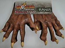 ADULT BROWN WEREWOLF MONSTER ANIMAL LATEX HANDS GLOVES COSTUME ACCESSORY TB25347