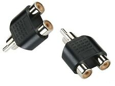 1x RCA Male to 2x RCA Female Audio Video Stereo Splitter Adaptor Socket B2
