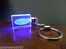 Crystal blue led light car key chain keyring fob for FORD mustang mondeo ka
