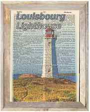 Louisbourg Lighthouse Canada Altered Art Print Upcycled Vintage Dictionary Page