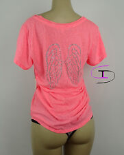 Victoria's Secret BLING GRAPHIC ANGEL WING  T-SHIRT SHORT SLEEVE XSMALL H93