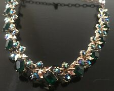 Vintage 1950's Signed ART Rhinestone Necklace Gold Tone Emerald Green + Blue AB