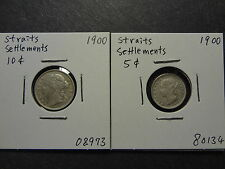STRAITS SETTLEMENTS 1900 SILVER 10 + 5 CENTS COMBO, RARE TYPE, FRESH VF++ !