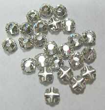 Preciosa Czech Rose Montees 4mm SS16 Silver Plate Clear Crystal 25 Beads
