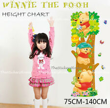 REMOVABLE Winnie The Pooh Height Chart Kids Growth Nursery Wall Stickers Decor