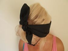 BLACK Head Band HAIR BOW Wrap Orecchie Bunny rockabilly Grunge LAND CONIGLIETTA 50s