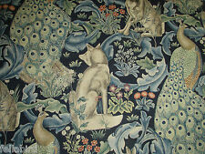 "WILLIAM MORRIS CURTAIN FABRIC  ""Forest Linen"" 3.5 METRES INDIGO ARCHIVE PRINTS"