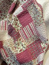 Shabby Chic French Country Throw Quilt Rug Blanket Pink Off White Patchwork