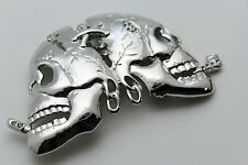 Men Women Belt Buckle Silver Metal Fashion Skeleton Skull Halloween Gothic Big