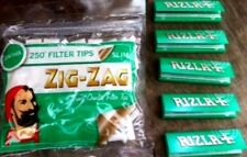 ZIG ZAG Bag 250 SLIM MENTHOL Filter Tips & 5 Packs of GREEN RIZLA Papers