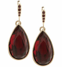 GIVENCHY Red Crystal Pear Drop Gold-Tone Earrings
