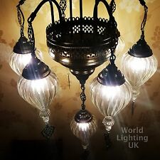 Ottoman Turkish Moroccan Tiffany Style Lamp Clear Glass Air Glass Chandelier