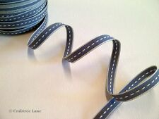 East of India Thin Stitch Grey Woven Ribbon - Craft Sewing Vintage - 3 Metres